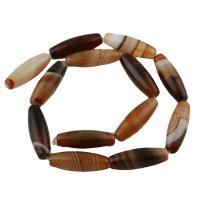 Natürliche Streifen Achat Perlen, braun, 30x10x10mm, Bohrung:ca. 1.5mm, ca. 13PCs/Strang, verkauft von Strang