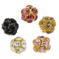 Messing Perle, rund, plattiert, mit Strass, keine, frei von Nickel, Blei & Kadmium, 19x19mm, Bohrung:ca. 2mm, 50PCs/Tasche, verkauft von Tasche