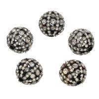 Messing rund, mit Strass, weiß, frei von Nickel, Blei & Kadmium, 22x22mm, Bohrung:ca. 4mm, 10PCs/Tasche, verkauft von Tasche