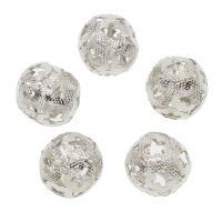 Messing Perle, mit Glas, rund, silberfarben plattiert, hohl, frei von Nickel, Blei & Kadmium, 17x17mm, Bohrung:ca. 2mm, 50PCs/Tasche, verkauft von Tasche
