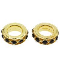 Zinklegierung Großes Loch Perlen, goldfarben plattiert, mit Strass, frei von Nickel, Blei & Kadmium, 37x12mm, Bohrung:ca. 10mm, 50PCs/Tasche, verkauft von Tasche