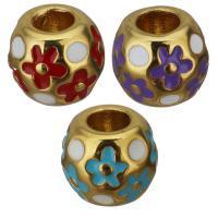Edelstahl-Perlen mit großem Loch, Edelstahl, goldfarben plattiert, Emaille, keine, 11x9.50x11mm, Bohrung:ca. 5mm, 10PCs/Menge, verkauft von Menge
