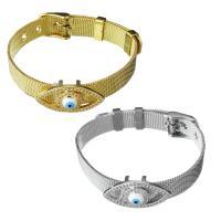 Edelstahl Armband, mit Messing, blöser Blick, plattiert, unisex & Maschen-Kette & Micro pave Zirkonia, keine, 27x14mm,10mm, verkauft per ca. 8.5 ZollInch Strang