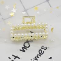 Haarklammer, Zinklegierung, mit Kunststoff Perlen, plattiert, verschiedene Stile für Wahl & für Frau & mit Strass, 45mm,42mm,40mm,50mm, verkauft von PC