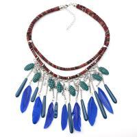 Zinklegierung Franse Halskette, mit Feder & Nylonschnur & Baumwolle Schnur & Acryl, plattiert, mehrschichtig & für Frau, keine, frei von Nickel, Blei & Kadmium, verkauft per 19.4 ZollInch Strang