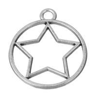 Zinklegierung Stern Anhänger, Pentagram, antik silberfarben plattiert, frei von Nickel, Blei & Kadmium, 23.50x28x2mm, Bohrung:ca. 3mm, 200PCs/Menge, verkauft von Menge