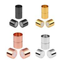 Messing Magnetverschluss, Zylinder, plattiert, verschiedene Größen vorhanden, keine, frei von Nickel, Blei & Kadmium, ca. 5PCs/Tasche, verkauft von Tasche