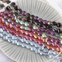 Mode Glasperlen, Glas, flache Runde, plattiert, keine, 14mm, Bohrung:ca. 1mm, 50PCs/Strang, verkauft von Strang