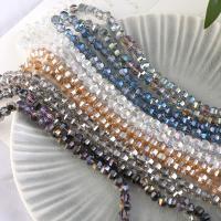 Mode Glasperlen, Glas, rund, plattiert, facettierte, keine, 8mm, Bohrung:ca. 1mm, 72PCs/Strang, verkauft von Strang