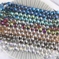 Mode Glasperlen, Glas, rund, plattiert, facettierte, keine, 14mm, Bohrung:ca. 1mm, 50PCs/Strang, verkauft von Strang