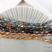 Mode Glasperlen, Glas, plattiert, keine, 8x13mm, Bohrung:ca. 1mm, 50PCs/Strang, verkauft von Strang