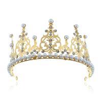 Krone, Zinklegierung, mit Kunststoff Perlen, plattiert, für Braut & mit Strass, keine, frei von Nickel, Blei & Kadmium, 325*76mm, verkauft von PC