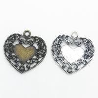 Zinklegierung Herz Anhänger, plattiert, keine, frei von Nickel, Blei & Kadmium, 30x29x2mm, Bohrung:ca. 1mm, 100PCs/Tasche, verkauft von Tasche