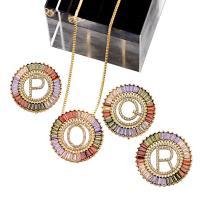 Messing Halskette, mit kubischer Zirkonia, goldfarben plattiert, unisex & verschiedene Muster für Wahl & Micro pave Zirkonia & hohl, keine, 28x28mm, verkauft per ca. 8.5 ZollInch Strang