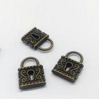 Zinklegierung Türschloss Anhänger, antike Bronzefarbe plattiert, frei von Nickel, Blei & Kadmium, 23x17x5mm, Bohrung:ca. 5mm, 100PCs/Tasche, verkauft von Tasche