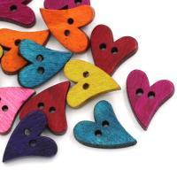Holz Knopf Zubehöre, verschiedene Stile für Wahl & Doppelloch, gemischte Farben, 21x17mm, Bohrung:ca. 2.1mm, ca. 100PCs/Menge, verkauft von Menge