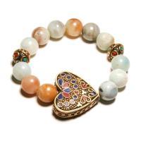Amazonit Armband, mit Zinklegierung, Herz, für Frau, 12mm, Länge:ca. 7 ZollInch, 2SträngeStrang/Menge, verkauft von Menge