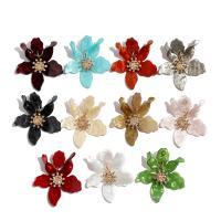 Acryl Tropfen Ohrring, Blume, goldfarben plattiert, für Frau & mit Strass, keine, 63x74mm, verkauft von Paar