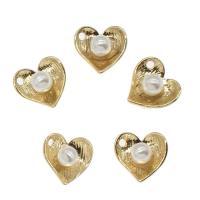 Messing Herz Anhänger, mit ABS-Kunststoff-Perlen, plattiert, Goldfarbe, frei von Nickel, Blei & Kadmium, 10x10x5mm, Bohrung:ca. 1mm, ca. 100PCs/Tasche, verkauft von Tasche