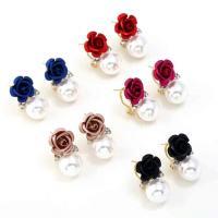 Zinklegierung Ohrstecker, mit ABS-Kunststoff-Perlen, Blume, plattiert, für Frau & mit Strass, keine, frei von Nickel, Blei & Kadmium, 18x46mm, verkauft von Paar