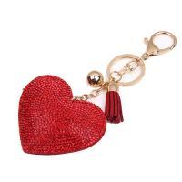 Leder Karabiner mit Schlüsselringen, mit Zinklegierung, Herz, plattiert, für Frau & mit Strass, keine, 65x70mm, verkauft von PC