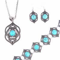 Zinklegierung Schmucksets, Armband & Ohrring & Halskette, mit Türkis, Messing Haken, plattiert, für Frau, keine, frei von Nickel, Blei & Kadmium, 95*93mm, verkauft von setzen