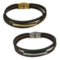 Edelstahl Schmuck Armband, mit Leder, plattiert, für den Menschen & mit Strass & Multi-Strang, keine, 12mm, verkauft per ca. 8.5 ZollInch Strang