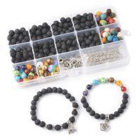Natürliche Lava Perlen, mit Kunststoff, plattiert, verschiedene Stile für Wahl, 8-10mm, verkauft von Box