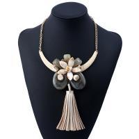 Mode-Fringe-Halskette, Zinklegierung, mit PO Leder & Harz & Kunststoff, mit Verlängerungskettchen von 5cm, plattiert, für Frau, weiß, verkauft per 17.7 ZollInch Strang