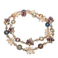 Süßwasserperlen Pullover Halskette, Kristall, mit Natürliche kultivierte Süßwasserperlen & Glas-Rocailles, für Frau, 14x10mm,9x8mm, verkauft per ca. 30 ZollInch Strang
