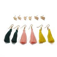 Zinklegierung Ohrstecker Set, Drop Anhänger Ohrring, mit Baumwollfaden, goldfarben plattiert, für Frau, frei von Nickel, Blei & Kadmium, 6PaarePärchen/setzen, verkauft von setzen