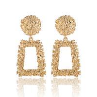Zinklegierung Tropfen Ohrring, Trapez, goldfarben plattiert, für Frau, frei von Nickel, Blei & Kadmium, 32x68mm, verkauft von Paar
