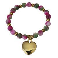 Edelstahl Schmuck Armband, mit gefärbte Jade, Herz, goldfarben plattiert, Armband  Bettelarmband & für Frau, 22x26mm,8mm, verkauft per ca. 7 ZollInch Strang