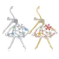 Messing Brosche, mit Kunststoff Perlen, Dancing Girl, plattiert, Micro pave Zirkonia & für Frau, keine, frei von Nickel, Blei & Kadmium, 51*30mm, verkauft von PC
