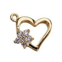 Messing Herz Anhänger, vergoldet, Micro pave Zirkonia, 14mm, Bohrung:ca. 1mm, 10PCs/Menge, verkauft von Menge