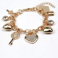 Zinklegierung Armband, Herz und Schlüssel, goldfarben plattiert, für Frau, goldfarben, frei von Nickel, Blei & Kadmium, 190mm, verkauft von PC