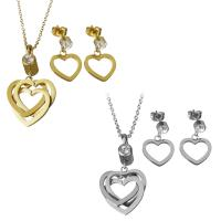 Edelstahl Schmucksets, Ohrring & Halskette, Herz, plattiert, Oval-Kette & für Frau & mit Strass, keine, 20.5x21.5mm,37mm,1.5mm,14x14.5mm,2mm, Bohrung:ca. 38.5mm, Länge:ca. 17.5 ZollInch, verkauft von setzen