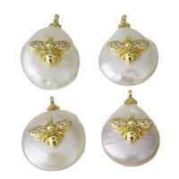 Edelstahl Schmuck Anhänger, mit Perlen, goldfarben plattiert, Micro pave Zirkonia, 12-13.5x117-18.5x7.5-8.5mm, Bohrung:ca. 1.5mm, 5PCs/Menge, verkauft von Menge