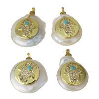 Edelstahl Schmuck Anhänger, mit Perlen, goldfarben plattiert, Micro pave Zirkonia, 13.5-16x19-21x6.5-7mm, Bohrung:ca. 1.5mm, 5PCs/Menge, verkauft von Menge