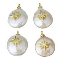Edelstahl Schmuck Anhänger, mit Perlen, goldfarben plattiert, Micro pave Zirkonia, 12-13x16.5-18.5x7-8.5mm, Bohrung:ca. 1.5mm, 5PCs/Menge, verkauft von Menge