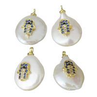 Edelstahl Schmuck Anhänger, mit Perlen, goldfarben plattiert, Micro pave Zirkonia, 12.5-14x18-20x6.5-9mm, Bohrung:ca. 1.5mm, 5PCs/Menge, verkauft von Menge