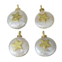 Edelstahl Schmuck Anhänger, mit Perlen, goldfarben plattiert, Micro pave Zirkonia, 11-11.5x14.5-15.5x4-6mm, Bohrung:ca. 1.5mm, 5PCs/Menge, verkauft von Menge