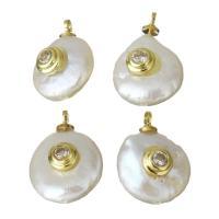 Edelstahl Schmuck Anhänger, mit Perlen, goldfarben plattiert, Micro pave Zirkonia, 10.5-11x14-16x6.5-8mm, Bohrung:ca. 1.5mm, 5PCs/Menge, verkauft von Menge