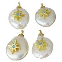 Edelstahl Schmuck Anhänger, mit Perlen, goldfarben plattiert, Micro pave Zirkonia, 11-11.5x15.5-17x4.5-6mm, Bohrung:ca. 1.5mm, 5PCs/Menge, verkauft von Menge