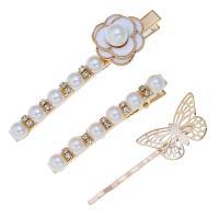 Haarschieber, Zinklegierung, mit Kunststoff Perlen, für Frau & Emaille & mit Strass, keine, frei von Nickel, Blei & Kadmium, 2.4cm*8cm,0.8cm*6cm,1.8cm*6.3cm, verkauft von setzen