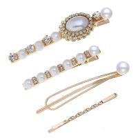 Haarschieber, Zinklegierung, mit Strass & Kunststoff Perlen, für Frau, frei von Nickel, Blei & Kadmium, 2.2cm*8cm,0.8cm*6cm,1cm*7cm,0.2cm*5.6cm, verkauft von setzen