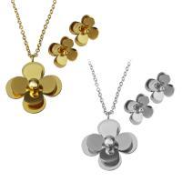 Edelstahl Schmucksets, Halskette, Blume, plattiert, Oval-Kette & für Frau, keine, 25x29mm,2mm,12.5x12.5mm, Länge:ca. 17.5 ZollInch, verkauft von setzen