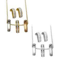 Edelstahl Schmucksets, Halskette, mit Ton, plattiert, Oval-Kette & für Frau, keine, 5x20mm,2mm,5x17.5mm, Länge:ca. 19.5 ZollInch, verkauft von setzen
