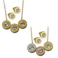 Edelstahl Schmucksets, Halskette, goldfarben plattiert, Oval-Kette & für Frau & mit Strass, keine, 11x11mm,1.5mm,9x9mm, Länge:ca. 17.5 ZollInch, verkauft von setzen