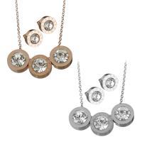 Edelstahl Schmucksets, Halskette, plattiert, Oval-Kette & für Frau & mit Strass, keine, 12x12mm,1.5mm,10x10mm, Länge:ca. 17.5 ZollInch, verkauft von setzen